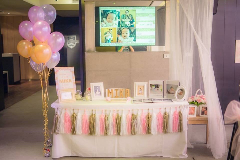 Birthday decoration in pink and gold theme party with cute birthday decoration, backdrop, cake table, birthday cake and themed desserts