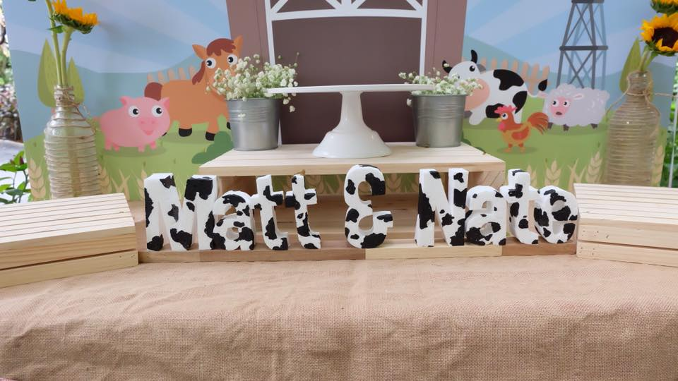 Farm theme birthday for kids who are animal lovers - with customized decoration, backdrop, birthday cake, desserts, pinata and activities